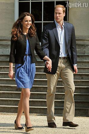 Кейт на следующий день после свадьбы в синем платье Zara