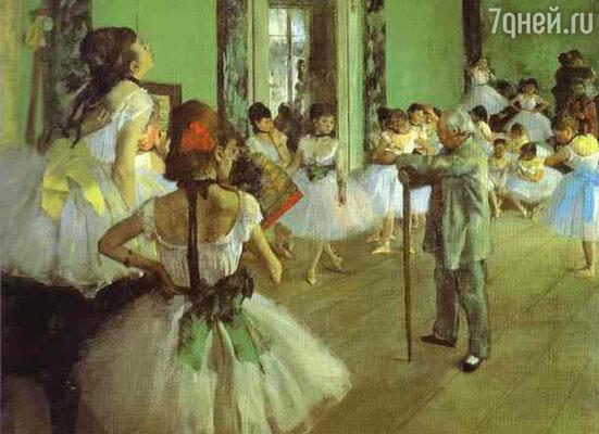 Балерины напоминали Эдгару пышные цветы и еще бабочек. Фото репродукции картины  «Урок танцев», 1871—1874 гг.