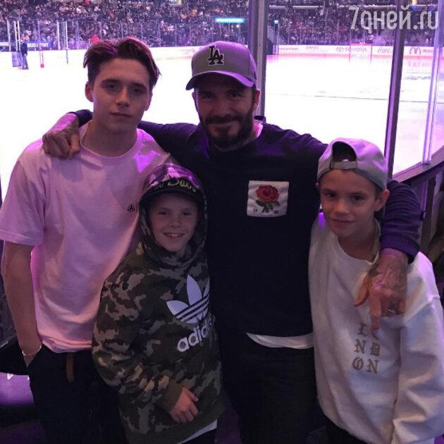Дэвид Бекхэм с сыновьями: Бруклином, Ромео и Крузом