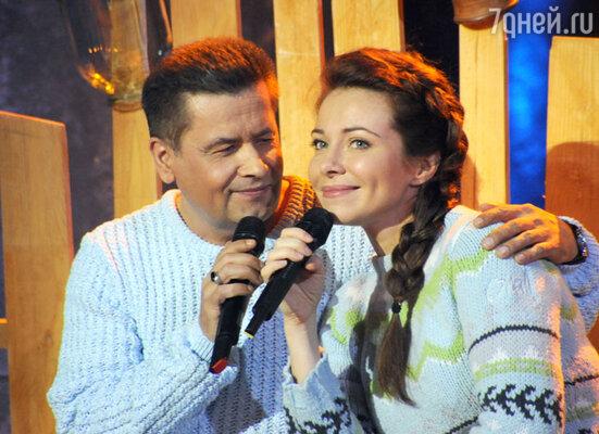 Екатерина Гусева и Николай Расторгуев на съёмках телешоу «Две звезды»