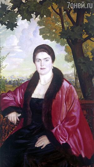 Портрет Марии Валентиновны Шаляпиной (Петцольд) работы Б.М, Кустодиева