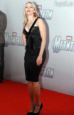 Актриса Скарлетт Йоханссон на премьере фильма «Мстители» в кинотеатре «Октябрь»