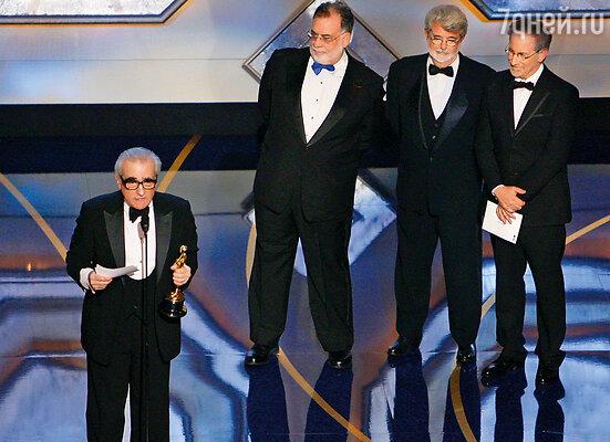 Лукас всегда искренне радовался победам своих друзей, каждый из них — личность и уникален по-своему. С Мартином Скорсезе, Фрэнсисом Фордом Копполой и Стивеном Спилбергом на церемонии «Оскар», 2007 г.