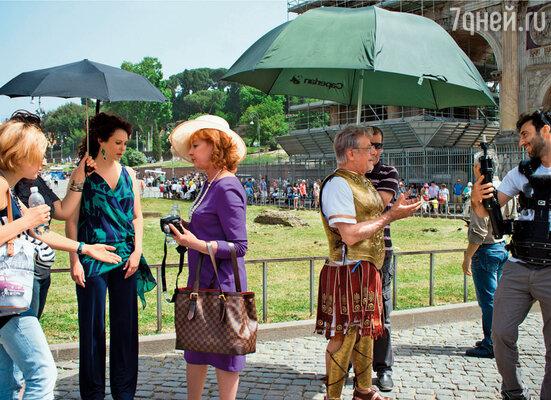 С Ларисой Удовиченко и Джанкарло Джаннини на съемках «Любви прет-а-порте» в Риме