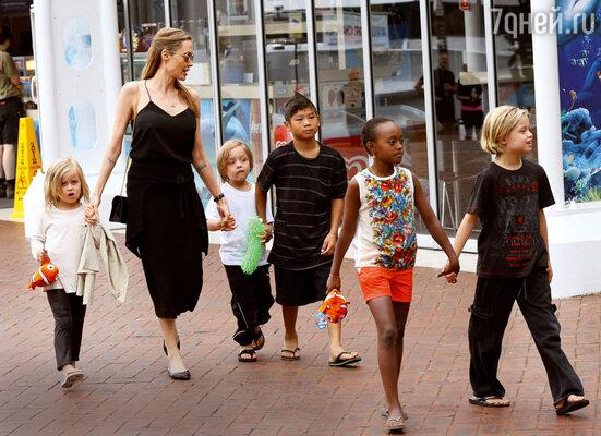 «Детский сад» на выгуле: Анджелина Джоли сблизнецами Вивьен Маршелин и Ноксом Леоном, сыном Паксом Тьеном, дочерьми Захарой и Шайло