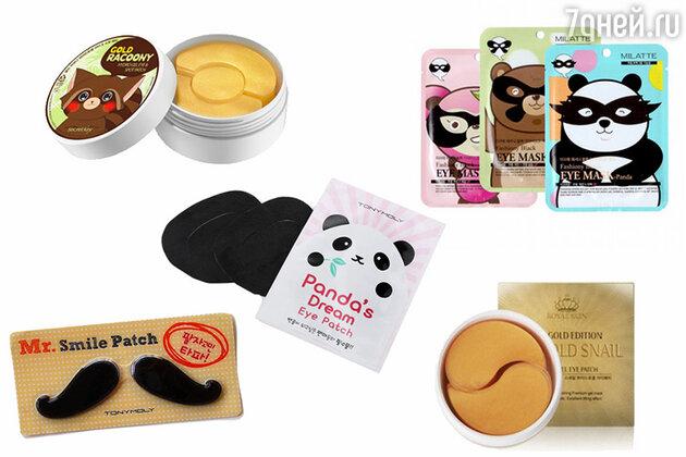 Патчи для глаз и губ: Gold Racoony Hydrogel Eye & Spot Patch от Secret Key, Fashiony Black Eye Mask от MILATTE, Panda's Dream Eye Patch, Mr. Smile Patch, все Tony Moly, 24K Gold Snail Hydro Gel Eye Patch от Royal Skin
