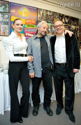Стас Намин с Максимом Дунаевским и его женой Мариной