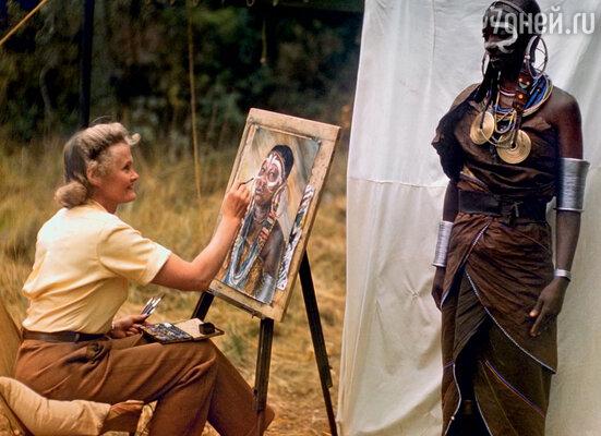 В юности Джой Адамсон серьезно увлекалась живописью. В Африке она с удовольствием и часто рисовала, 1960 г.
