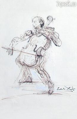 В доме немало картин, рисунков известных мастеров. Таким Ростроповича — маэстро ввечном движении — запечатлел его друг Сальвадор Дали