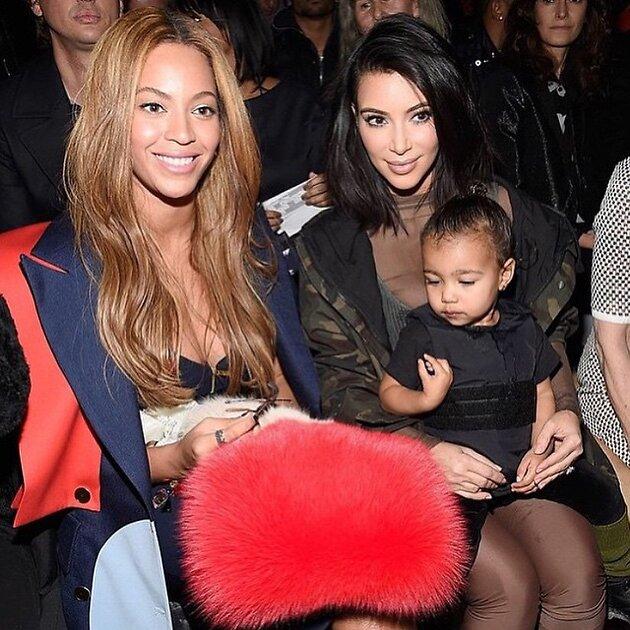 Ким Кардашьян с дочерью и Бейонсе