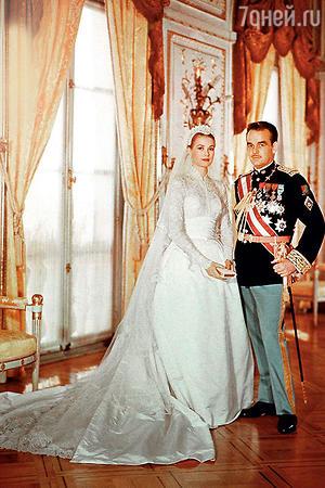 Молодожены Грейс Келли и князь Монако Ренье III. 1956 год