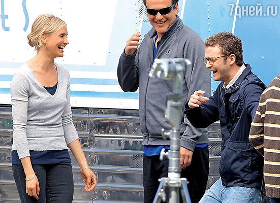 С бывшим бойфрендом Джастином Тимберлейком на съемках фильма «Очень плохая училка»
