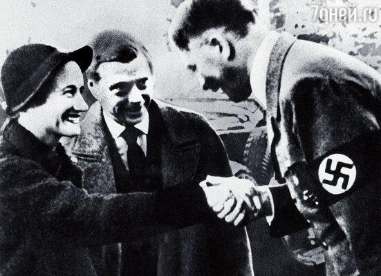 Герцог Виндзорский Эдуард с супругой Уоллес Симпсон и Адольф Гитлер