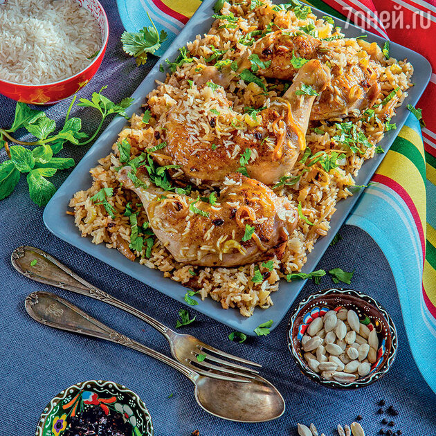 Цыпленок с карамелизированным рисом и пряностями