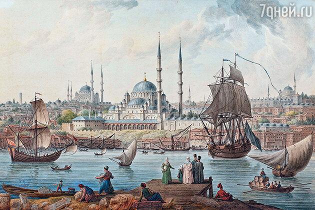 Фото репродукции картины «Ени-Джами и порт Стамбула (Французский посол Шуазель-Гуффье прибывает в Османскую империю)» Жан-Батиста Илера
