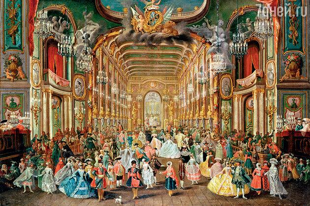 Фото репродукции картины «Маскарад в городском театре» Якоба Руссо