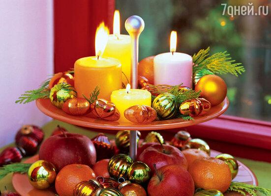 Фруктовая композиция в золотисто-красной гамме — атрибут новогоднего застолья — 2012