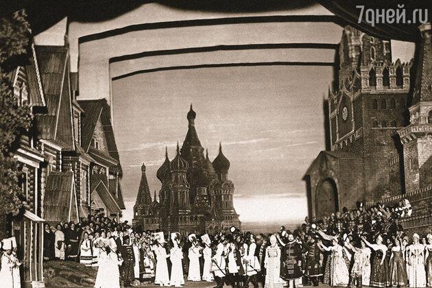 Сцена из оперы М. Глинки «Жизнь за царя» в постановке Мариинского театра, 1886 г.