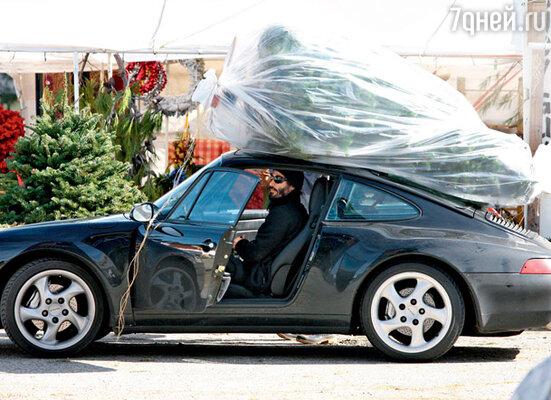 Елка едва поместилась на крышу автомобиля актера