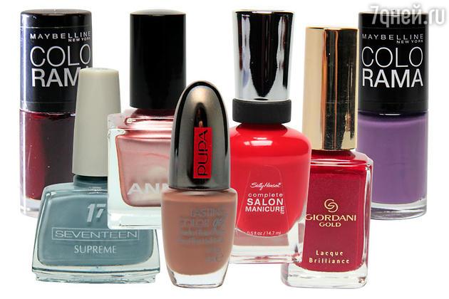 Лак для ногтей Colorama by Maybelline New York, оттенок 261; Лак для ногтей Supreme, Seventeen, оттенок 23; Лак для ногтей Anny; Лак для ногтей Lasting Color Gel, Pupa, оттенок 048; Лак для ногтей Complete Salon Manicure, Sally Hansen, оттенок 550; Лак для ногтей Lacque Brilliance, Giordani Gold; Лак для ногтей Colorama by Maybelline New York, оттенок 554