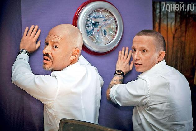 Федр Бондарчук и Иван Охлобыстин на съемках фильма «Гена-Бетон»
