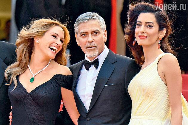 Джулия Робертс и Джордж Клуни с женой Амаль