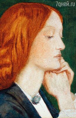 На 19-летнюю Лиззи часто заглядывались молодые люди. Она действительно имела необычную внешность. Портрет Элизабет Сиддал кисти Данте Россетти