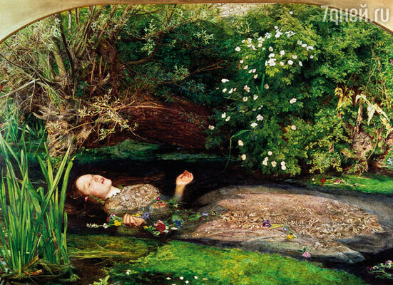 Милле хотел нарисовать тонущую Офелию, и Лиззи покорно позировала ему несколько часов в ванне с холодой водой. «Офелия» кисти Джона Милле, 1851 г.
