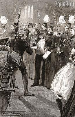 Бизнесмен Самсон Фокс, тот самый, который разорил Джерома, любил сорить деньгами: Фокс вручает чек на 45 тыс. фунтов принцу Уэльскому, будущему королю Эдварду VII