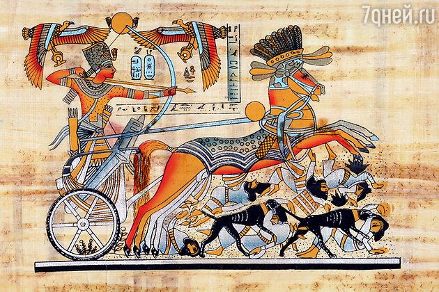 Папирус с изображением царя Тутанхамона в бою