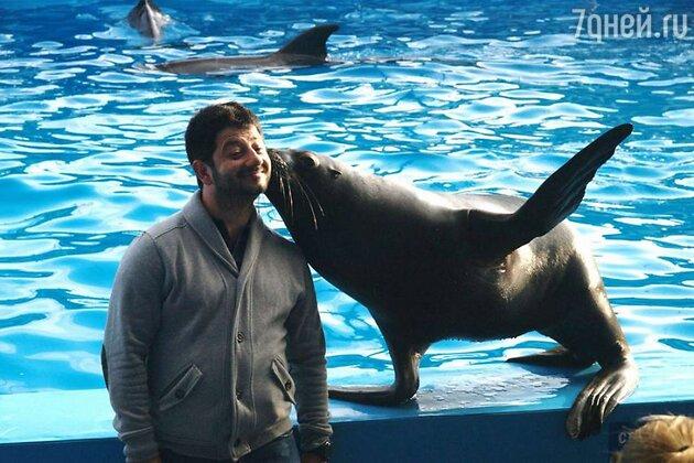 Михаил Галустян в дельфинарии