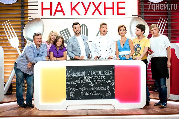 Команды сериалов СТС «Кадетство» и «Папины дочки» на съемках шоу «Кто кого на кухне?»