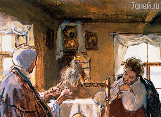 Фото репродукции картины «А.С. Пушкин в Михайловском домике Арины Родионовны»