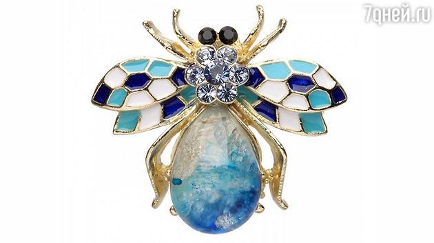 """Брошь-подвеска """"Пчелка""""с цветными кристаллами Swarovski"""