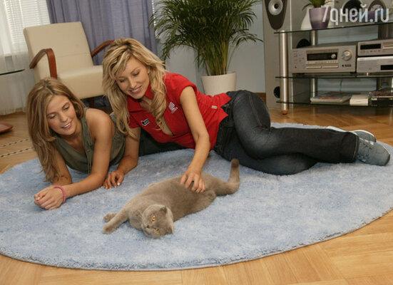 Ирина Нельсон и Алена Тарганова с шотландским вислоухим котом Масяней