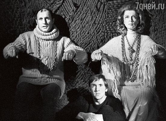 Александр Пороховщиков, Владимир Высоцкий, Алла Демидова. Спектакль «Гамлет», 1977 год