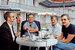 Василий Ливанов, Эльдар Рязанов, Игорь Масленников и Никита Михалков во время съемки «Кинопанорамы» на ММКФ. 1981 г.