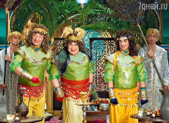 Магическим образом оказавшись в восточной сказке, три богатыря пытаются закосить под местных красавиц
