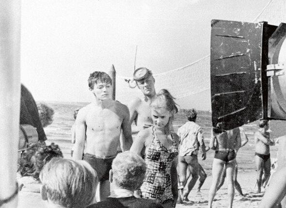 С Александром Збруевым и Андреем Мироновым вфильме «Мой младший брат». 1962 г.