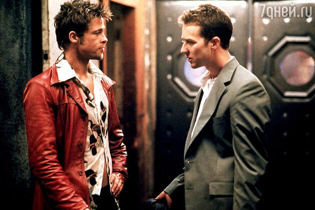 Эдвард Нортон с Брэдом Питтом в драме «Бойцовский клуб» 1999 г.