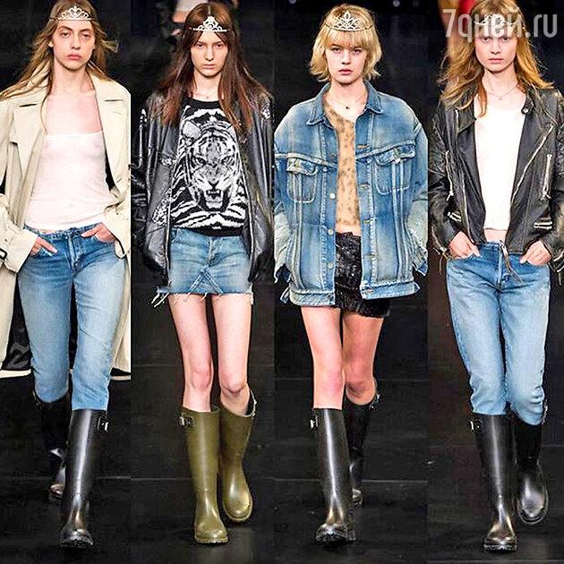 Эти джинсы и резиновые сапоги особенно впечатлили Эвелину на показе Saint Laurent
