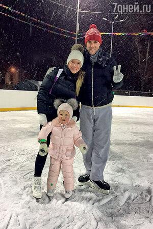 Екатерина Волкова с мужем Андреем и дочкой Лизой