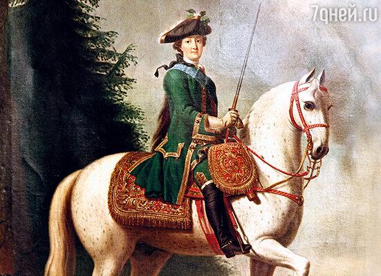 Гарцующая на огромном боевом коне, Екатерина  стала мечтой Потемкина — а любовь пришла позже. (Репродукция картины «Портрет Екатерины II верхом», работы Вергилиуса Эриксена)
