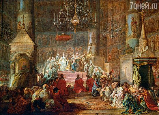 После того, как Екатерина II захватила трон, страна  ликовала, но ее власть была непрочна. Дочка захудалого  немецкого князя не имела прав на русский престол. (Репродукция картины «Коронация Екатерины II 22 сентября 1762 г.», работы Стефано Торелли)