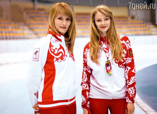 Светлана Журова и Светлана Ходченкова на съемках фильма «Чемпионы»
