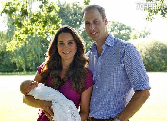Принц Уильям с женой Кейт и сыном Джорджем