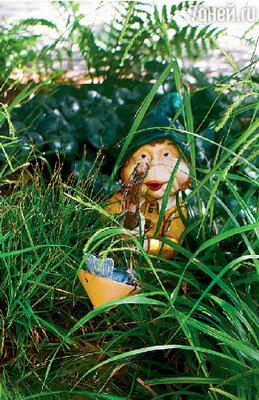 Сказочного гнома в зарослях травы на берегу озерца «поселил» супруг Варвары Михаил