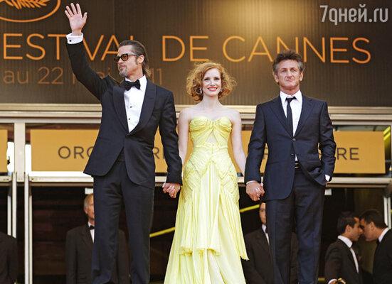Шон Пенн, Джессика Честейн и Брэд Питт на премьере фильма «Древо жизни»
