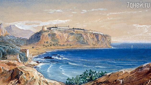 Фото репродукции картины Э. Лира «Монако вид с Кап-д'Ай» частная коллекция