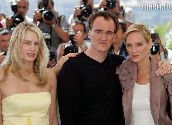 С Дэрил Ханной и Умой Турман на премьере фильма «Убить Билла-2». 2004 г.